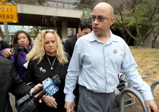 Kimberly and David Gregory, from left, parents of Michela Gregory one of the 36 victims to perish in the Ghost Ship fire leave the Wiley W. Manuel Courthouse after attending a court appearance by Ghost Ship master tenant Derick Almena at the courthouse on Thursday, June 8, 2017. Almena has been charged with 36 counts of involuntary manslaughter in connection with the Dec. 2 warehouse fire. (Anda Chu/Bay Area News Group)