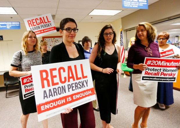 Protesters deliver a notice of intent to recall Superior Court Judge Aaron Persky at the Santa Clara County Registrar of Voters office in San Jose, California, on Monday, June 26, 2017. The recall proponents will be collecting almost 60,000 signatures to recall the judge for the June 2018 election. The organizers vow to recall the judge who gave a lenient sentence to Stanford athlete Brock Turner for sexually assaulting a female student. (Gary Reyes/ Bay Area News Group)