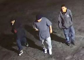 The three men shown in this security image are being sought in connection with the armed robbery of an Arco gas station on Tully Road on May 25, 2017.