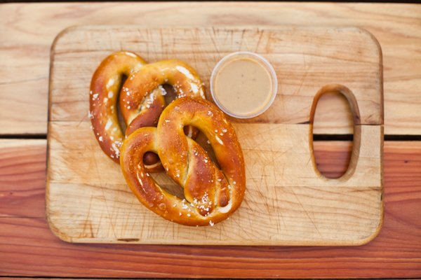 The menu at the new Steins Beer Garden and Restaurant in Cupertino willinclude favorites from the Mountain View original, from housemade sausages to giant pretzels served with caraway beer mustard, pub cheese and other condiments. (Steins Cupertino)