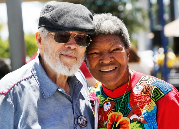 "John and Rosemary McGuire, of Palo Alto, and other community members gather at Parque de los Pobladores in San Jose, California, Saturday, June 10, 2017, to celebrate the city's first ""Loving Day."" The event marked the 50th anniversary of Loving vs. Virginia, the landmark Supreme Court ruling that determined state bans on interracial marriage are unconstitutional. (Patrick Tehan/Bay Area News Group)"