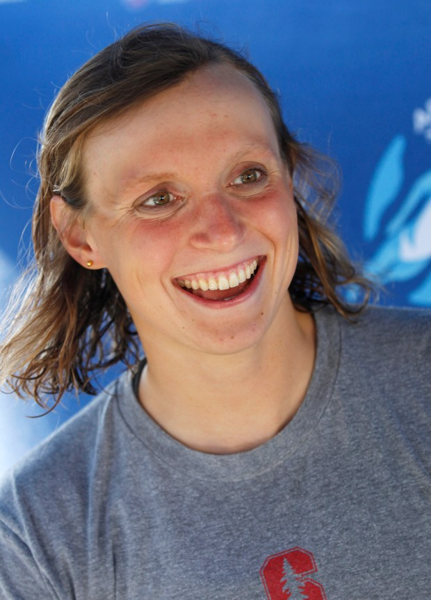 Katie Ledecky, of Stanford, talks to reporters after winning the women's 1500 meter freestyle during the Arena Pro Swim Series at George F. Haines International Swim Center Thursday, June 1, 2017, in Santa Clara, Calif. (Jim Gensheimer/Bay Area News Group)