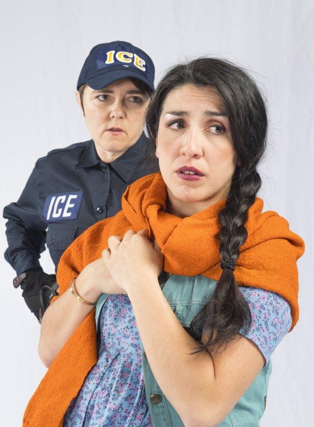 Lizzie Calogero (ICE Agent), Marilet Martinez (Zaniyah Nahuatl) in* WALLS*.(DavidAllenStudio.com)