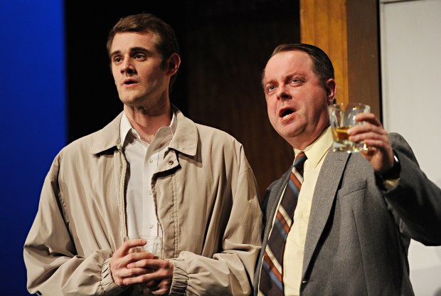 "Max Tachis as Benjamin Braddock, left, hears Mark Novak as Mr. Robinson say that one word -- ""plastics"" in ""The Graduate"" at Palo Alto Players. Later, Novak gives one of the show's most powerful scenes. The show runs through July 2, 2017, at the Lucie Stern Theatre in Palo Alto. (Joyce Goldschmid / Palo Alto Players)"