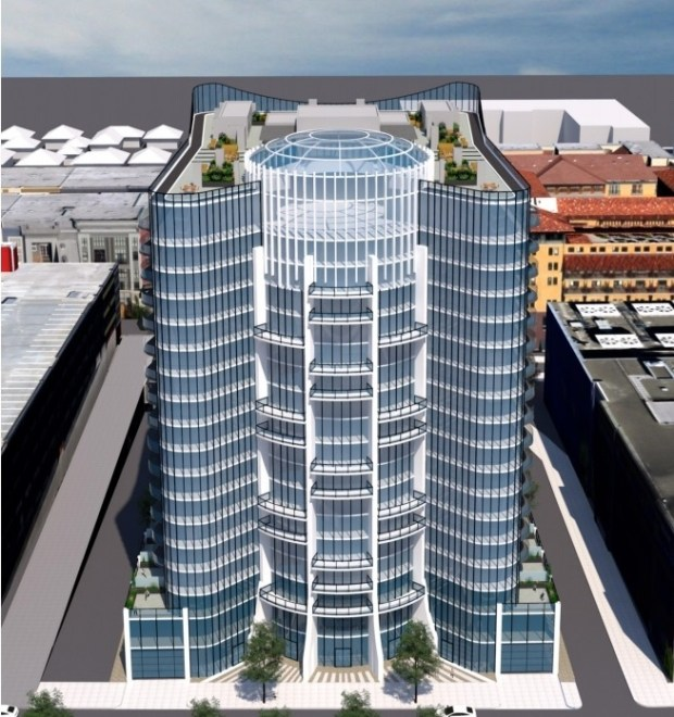 Volar is a 18-story mixed use tower planned for 350 S. Winchester Blvd. with 300 condos, commercial space and a park on top. (Courtesy: Salvatore Caruso Design Corporation)