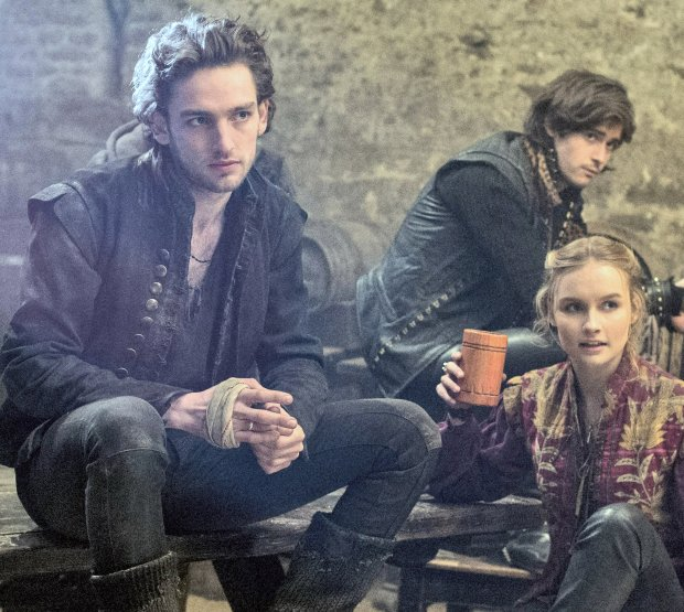 """Laurie Davidson, left, who plays the young Bard in TNT's """"Will,"""" withco-stars Olivia DeJonge and Mattias Inwood. (Alex Bailey/TNS)"""
