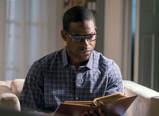"""This image released by NBC shows Sterling K. Brown in """"This Is Us."""" Brown was nominated for an Emmy Award for outstanding lead actor in a drama series on Thursday, July 13, 2017. The Emmy Awards ceremony, airing Sept. 17 on CBS, will be hosted by Stephen Colbert (Ron Batzdorff/NBC via AP)"""