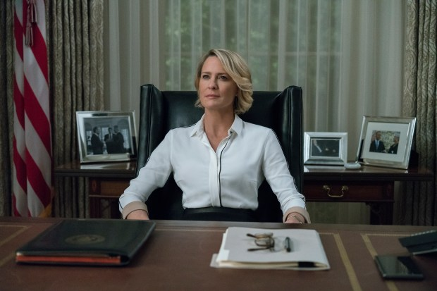 """This image released by Netflix shows Robin Wright in a scene from """"House Of Cards."""" Wright was nominated for an Emmy Award for outstanding lead actress in a drama series on Thursday, July 13, 2017. The Emmy Awards ceremony, airing Sept. 17 on CBS, will be hosted by Stephen Colbert. (David Giesbrecht/Netflix via AP)"""