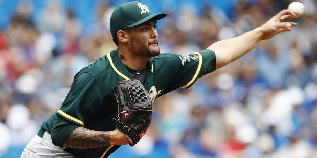 Oakland Athletics starting pitcher Sean Manaea (55) throws against the Toronto Blue Jays during the first inning of a baseball game Thursday, July 27, 2017, in Toronto. (Mark Blinch/The Canadian Press via AP)