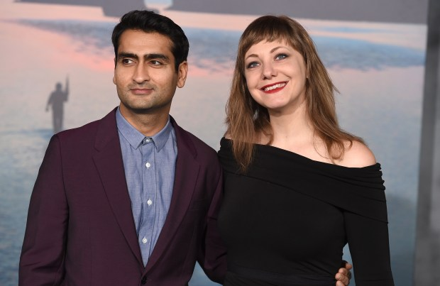"Kumail Nanjiani and his wife, Emily Gordon -- screenwriters of ""The Big Sick"" -- arrive at the March Los Angeles premiere of ""Kong: Skull Island."" (Jordan Strauss/Invision/AP/File)"