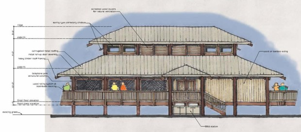 "Courtesy Gilbert LaBrie Architect - An artist's rendering depicts the restaurant and bar structure proposed for construction on Lost Isle, a well-known ""party island"" in the Delta. After falling into disrepair for a number of years, there are now plans to reopen the island."