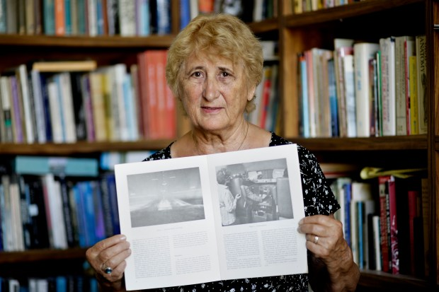 Edie Fischer a retired research psychologist holds a copy of research paper and photographed she is in performing experiment at her home in Gilroy, California, on Wednesday, July 26, 2017. Fisher's experiment in 1980 for NASA where she had pilots land on simulator. During one landing she secretly placed an airplane in the middle of the runway. During one phase of experiment 2 of 8 pilots didn't see the plane. (JosieLepe/Bay Area News Group)