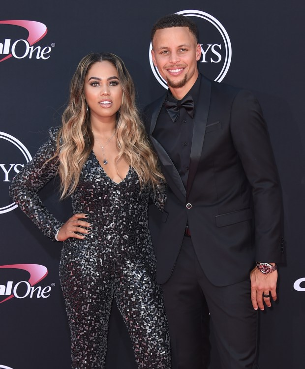 NBA basketball player Stephen Curry of the Golden State Warriors, right, and Ayesha Curry arrive at the ESPYS at the Microsoft Theater on Wednesday, July 12, 2017, in Los Angeles. (Photo by Jordan Strauss/Invision/AP)