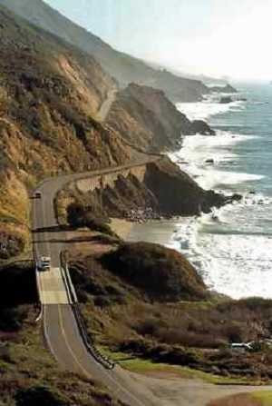 Looking south along Highway 1 near Nacimiento-Fergusson Road in Big Sur. (Vern Fisher — Monterey Herald file)