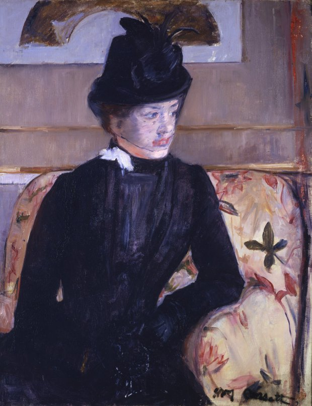 """Mary Cassatt, """"Portrait of Madame J (Young Woman in Black),"""" 1883.(Courtesy of Fine Arts Museums of San Francisco)"""