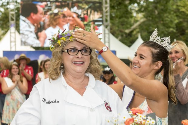 """Rebecka Evans of Danville was crowned the winner of the Gilroy Garlic Festival's Great Garlic Cook-off on July 30, 2016. Her savory success was """"Garlic,Goat Cheese and Bacon Souffle with Creamy Garlic Mustard Sauce"""" — a dish that had to contain at least six cloves of garlic, as per festival rules. (Photo courtesy of Gilroy Garlic Festival)"""
