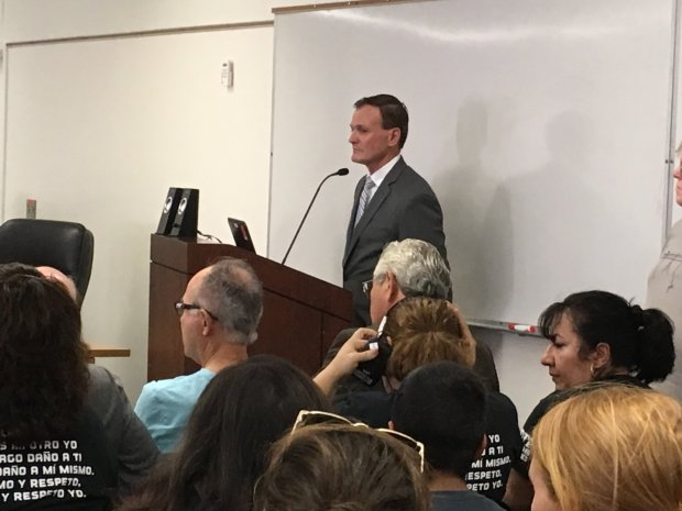 Santa Clara County Superintendent of Schools Jon Gundry presents a stateaudit of the Alum Rock Union School District to the district's board of education on Thursday, July 13, 2017. (Sharon Noguchi/Bay Area News Group)