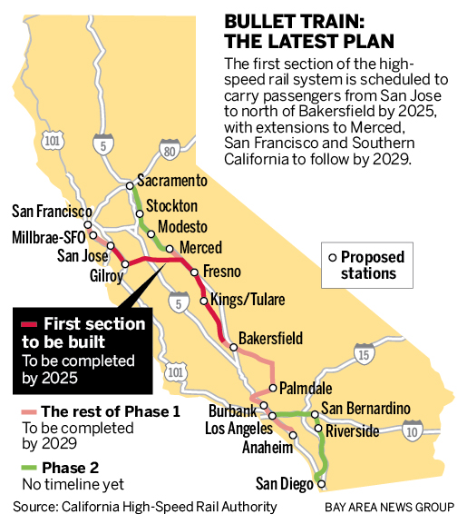Bullet train from San Jose to Fresno Silicon Valley Express