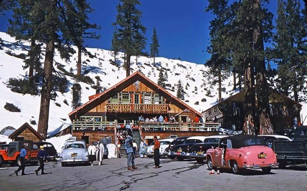 Pictured is the Edelweiss ski area, along Highwy 50 as it appeared in 1955. The ski area closed in 1963. Courtesy Donner Summit Historical Society, Norm Sayler Collection)