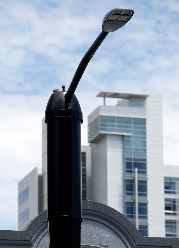 Street lamps and utility poles throughout the state may soon be hosting communication antennas under Senate Bill 649, a bill opposed by many city officials, including those in San Jose's City Hall , where these lamps were photographed, Wednesday, July 5, 2017. (Karl Mondon/Bay Area News Group)