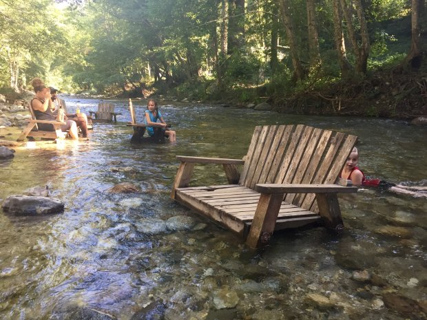 A river runs through the Big Sur River Inn and guests are encouragedto get their feet wet. (Karen D'Souza)