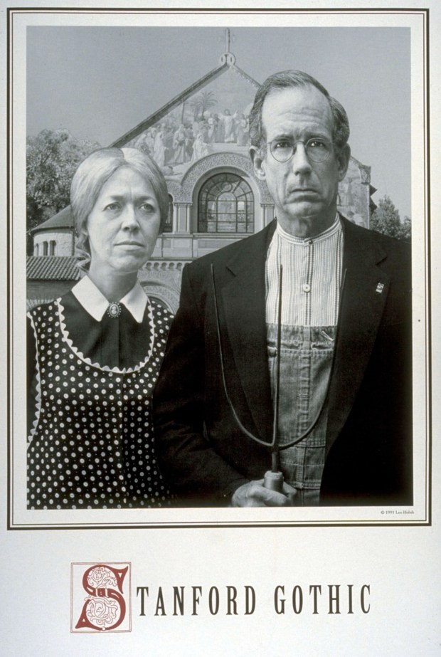 In their parody of the iconic work by Grant Wood, Wanda Corn and then Stanford President Donald Kennedy brought some levity to the difficult times following the 1989 Loma Prieta earthquake. (Leo Holub)