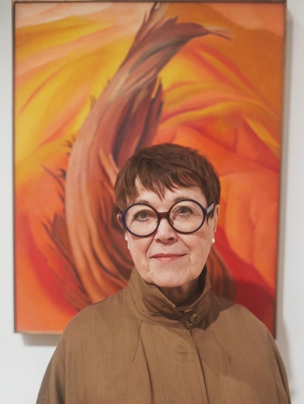 "Stanford Professor Emerita Wanda Corn at the ""Georgia O'Keeffe: Living Modern"" exhibition at the Brooklyn Museum. (Tim Hout)"