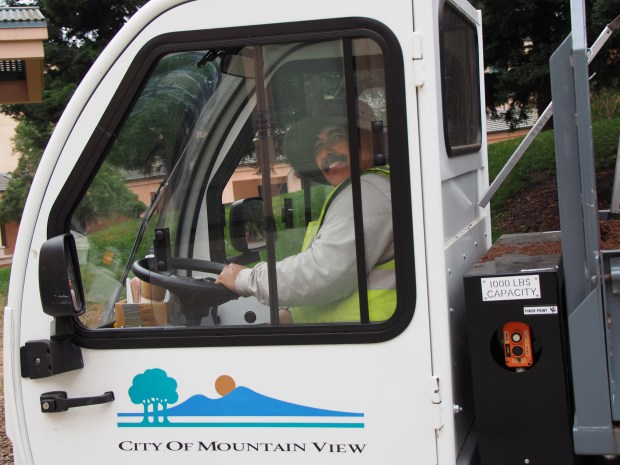 City of Mountain View horticulturist Leo Mancia in a city vehicle that shows the city's logo. The logo was created by Michelle Roberts, now retired, who was the marketing and public relations manager for the Mountain View Center for the Performing Arts. Mancia has taken to shaping topiaries around the city in the shape of the logo. (Shonda Ranson / City of Mountain View)