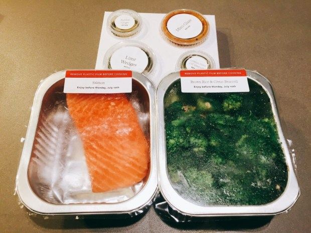 This is what a Tovala meal looks like when it arrives. (Maura Judkis/The Washington Post)