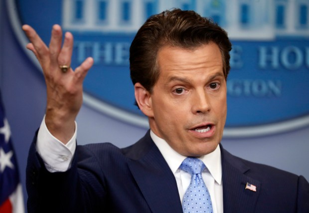 FILE - In this July 21, 2017, file photo, White House communications director Anthony Scaramucci gestures as he answers a question during a press briefing in the Brady Press Briefing room of the White House in Washington. Scaramucci offered newsroom leaders a test on Thursday. They needed to decide whether to fully use the obscenities relied on by Scaramucci to describe fellow White House aides or talk around them. (AP Photo/Pablo Martinez Monsivais, File)