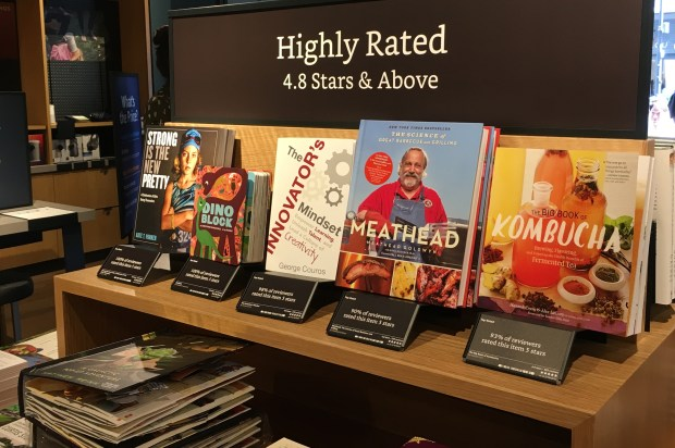 Amazon Books is opening new physical bookstore in San Jose's Santana Row on Thursday, Aug. 24. , 2017. Books inside the store include highly rated titles. August 2017.