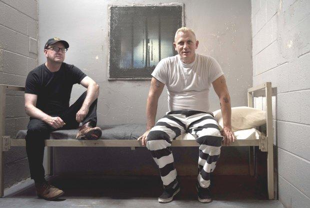 """""""Logan Lucky"""" director Soderbergh, left, with Daniel Craig on the set.(Claudette Barius/Fingerprint Releasing/Bleecker Street)"""