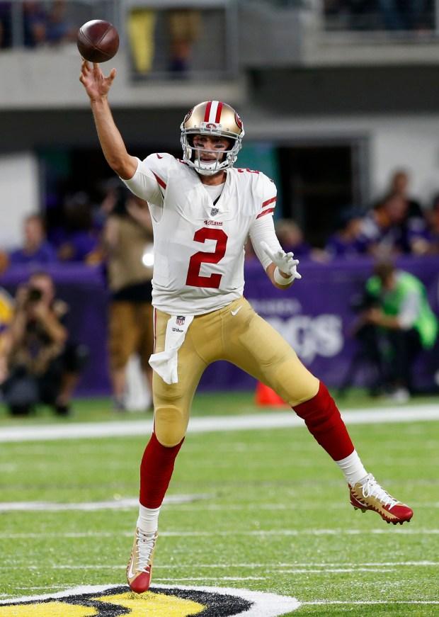 a58f7956367 San Francisco 49ers quarterback Brian Hoyer (2) throws a pass during the  first half