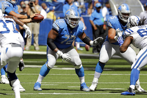 Detroit Lions offensive guard Laken Tomlinson (72) plays against the Indianapolis Colts during the second half of an NFL preseason football game Sunday, Aug. 13, 2017, in Indianapolis. (AP Photo/Darron Cummings)