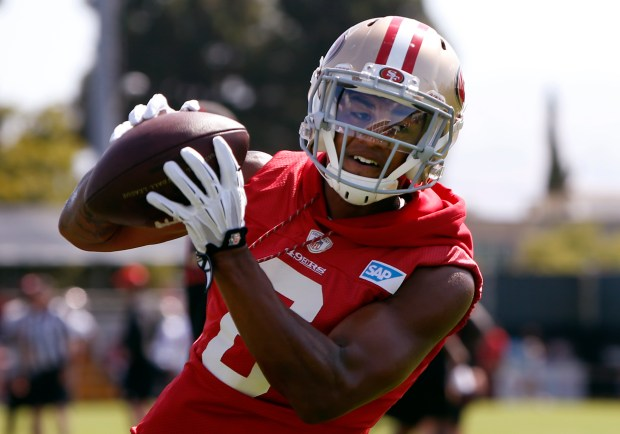 San Francisco 49er wide receiver Kendrick Bourne (6) catches a pass, Tuesday, Aug. 15, 2017, at the team's training camp in Santa Clara, California. (Karl Mondon/Bay Area News Group)