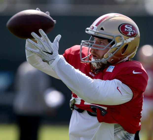 San Francisco 49ers' Logan Paulsen (82) catches a pass at practice during training camp at Levi's Stadium in Santa Clara, Calif., on Wednesday, Aug. 16, 2017. (Anda Chu/Bay Area News Group)