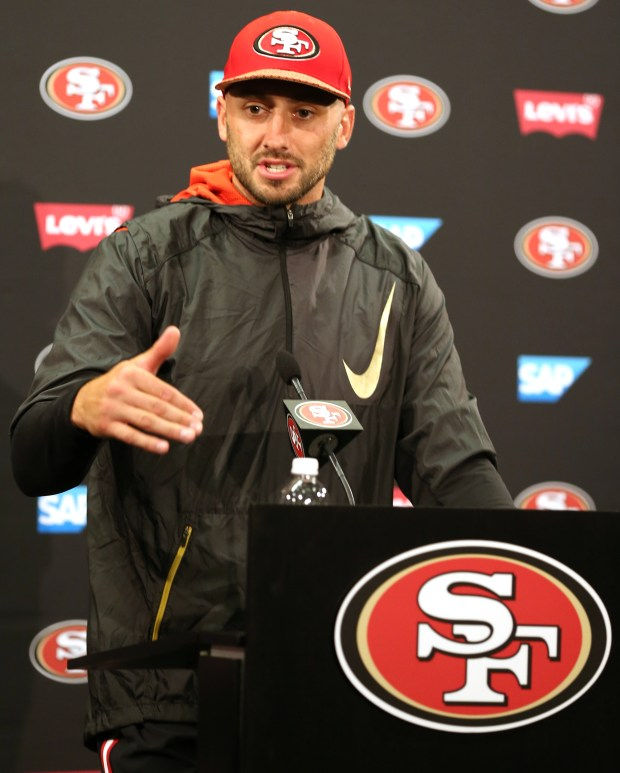b129947d4e1 San Francisco 49ers quarterback Brian Hoyer (2) answers questions from the  news media following