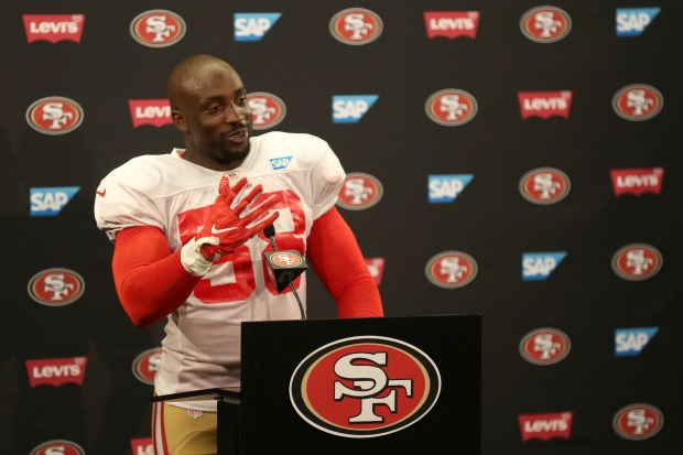 San Francisco 49ers' Elvis Dumervil (58) answers questions from the news media following a joint practice with the Denver Broncos during training camp at Levi's Stadium in Santa Clara, Calif., on Wednesday, Aug. 16, 2017. (Anda Chu/Bay Area News Group)