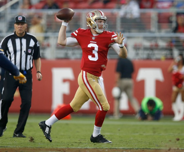 San Francisco 49ers quarterback C.J. Beathard (3) throws against the Los Angeles Chargers in the first quarter of their NFL game at Levi's Stadium in Santa Clara, Calif., on Thursday, August 31, 2017. (Nhat V. Meyer/Bay Area News Group)