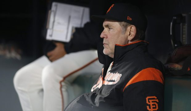 San Francisco Giants manager Bruce Bochy sits in the dugout during their game against the Oakland Athletics in the fifth inning at AT&T Park in San Francisco, Calif. on Wednesday, August 2, 2017. (Nhat V. Meyer/Bay Area News Group)