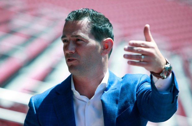 San Francisco 49ers team president Al Guido leads a tour of Levi's Stadium showing off new decorations that honor past and current players Tuesday, Aug. 15, 2017, in Santa Clara, California. (Karl Mondon/Bay Area News Group)