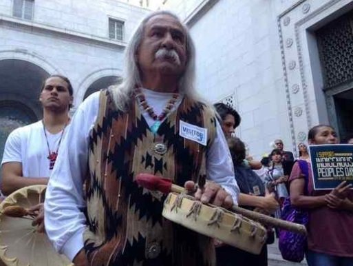 Supporters of Indigenous People's Day gather Wednesday, Aug. 30, 2017, at LA City Hall. (Photo by Ed Crisostomo/Los Angeles Daily News)