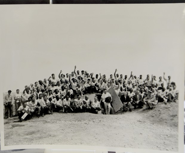 A copy photograph from December 1959 of a Naval Radiology Laboratory bomb shelter experiment copied at the Alameda County Sheriff's office archives in Dublin, Calif., on Tuesday, Aug. 22, 2017. There are some photos, documents and relics related to the Cold War and the nuclear threat housed there. This photo shows everybody outside of the bomb shelter. (Dan Honda/Bay Area News Group)