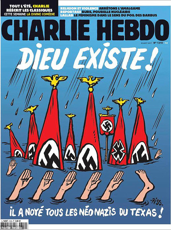 Charlie Hebdo Depicts Harvey Victims As Nazis