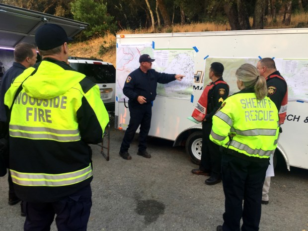 San Mateo County Fire Battalion 15 Chief Tim Shiffer briefs first responders during an emergency exercise on Saturday, Aug. 12, 2017, at Huddart County Park and Phelger Estate. (Courtesy of San Mateo County Sheriff's Office)