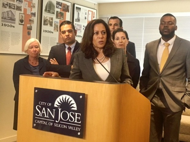 U.S. Senator Kamala Harris met with nine California mayors at San Jose City Hall on Tuesday to discuss everything from immigration to climate change.