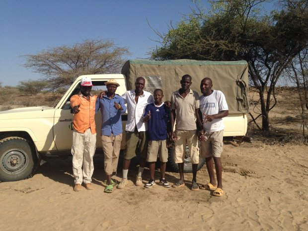Field crew of the Turkana Basin Institute when Alesi was discoveredat Napudetin September 2014. From Left to right Abdala Ekuon, John Ekusi, Isaiah Nengo, Bernard Ewoi, Akai Ekes, and Cyprian Nyete. (© Isaiah Nengo)