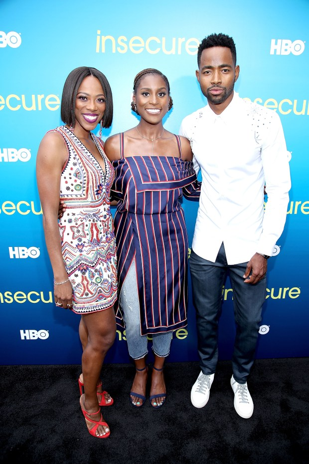 "Actors Yvonne Orji, Issa Rae (creator and star of ""Insecure"") and Jay Ellis at a July 15 celebration of the series'second season. (Randy Shropshire/Getty Images)"