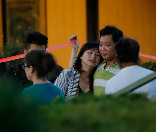 Grieving Parents At The Scene Of Fatal Fire Where Two Children And Adult Died At The Golden Wheel Mobile Home Park In San Jose Calif On Tuesday