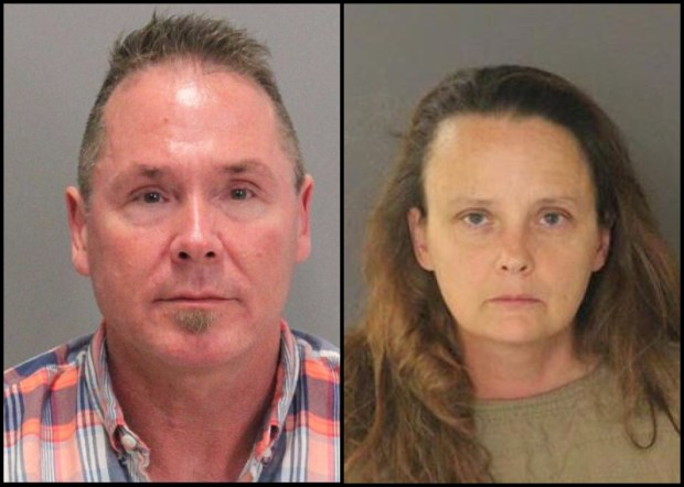Tacoma residents Michael Kellar and Gail Burnworth were arrested after in-flight texts on a San Jose-bound plane revealed an alleged child-sex exploitation scheme in Washington State, authorities said. (San Jose Police Dept.)